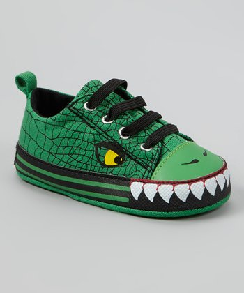 Green & Black Alligator Sneaker