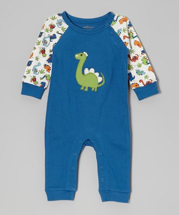 Blue Dinosaur Organic Playsuit - Infant
