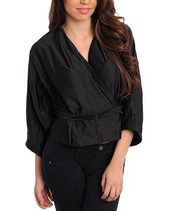 Black Belted Wrap Jacket
