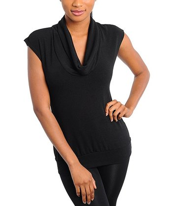 Black Cutout-Back Cowl Neck Top
