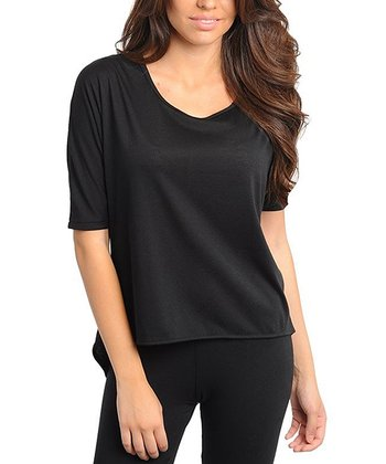 Black Sheer Back Three-Quarter Sleeve Top