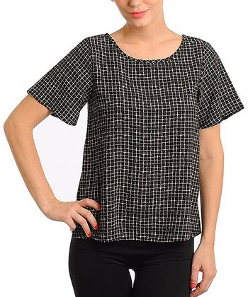 Black Hatch Short-Sleeve Top