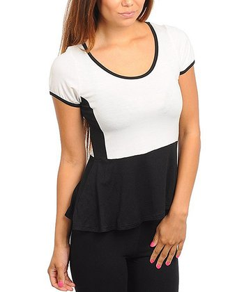 Ivory & Black Peplum Top