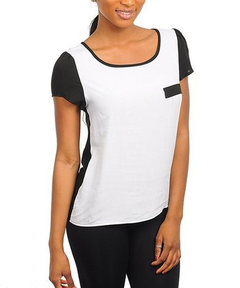 White & Black Pocket Short-Sleeve Top