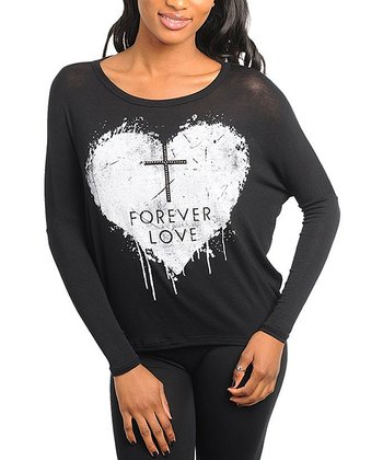 Black 'Forever Love' Dolman Top
