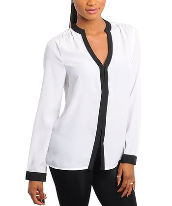 White & Black Contrast Long-Sleeve Top