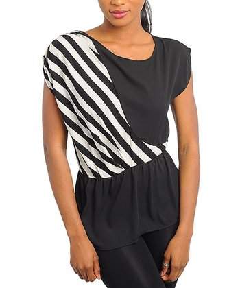 Black & White Diagonal Stripe Peplum Top