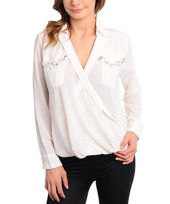 Cream Embellished Pocket Surplice Top