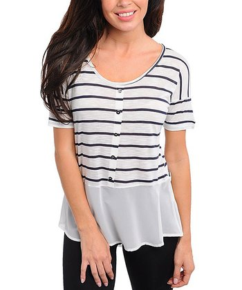 White & Black Stripe Peplum Top