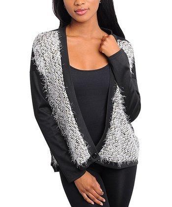 Black & White Textured Cardigan