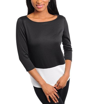 Black & Ivory Color Block Boatneck Top