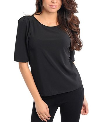 Black Half-Sleeve Top