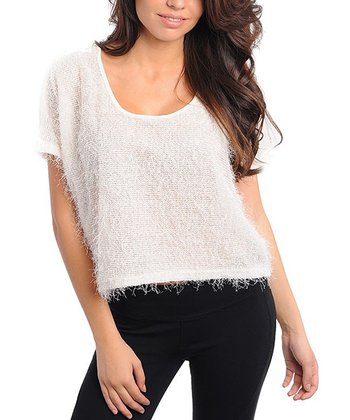 Ivory Textured Short-Sleeve Top