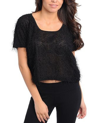Black Textured Short-Sleeve Top