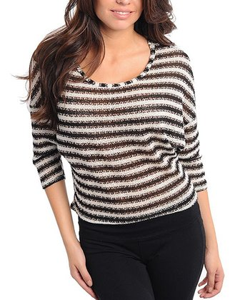 Black & Ivory Knit Stripe Dolman Top