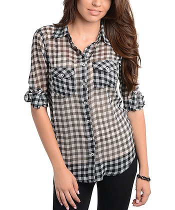 Black & White Gingham Sheer Button-Up