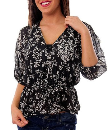 Black Classic Floral Three-Quarter Sleeve Top