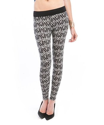 Black & Cream Geometric Leggings
