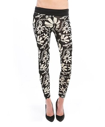 Black & Cream Floral Leggings