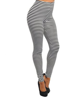 White & Black Stripes Leggings