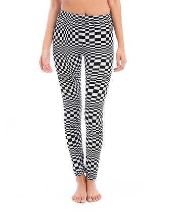 Black & White Distorted Checker Leggings