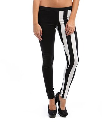 Black & White Half Stripe Leggings