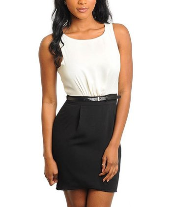 Ivory & Black Belted Sleeveless Dress