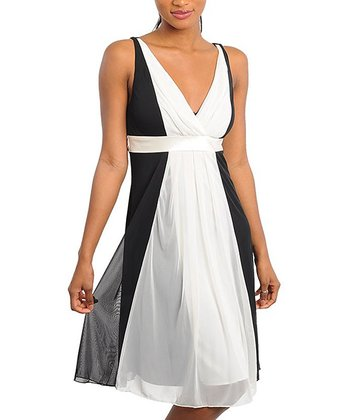 Black & Ivory Colorblock Mesh Surplice Dress