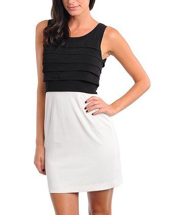 Black & White Tiered Sleeveless Dress