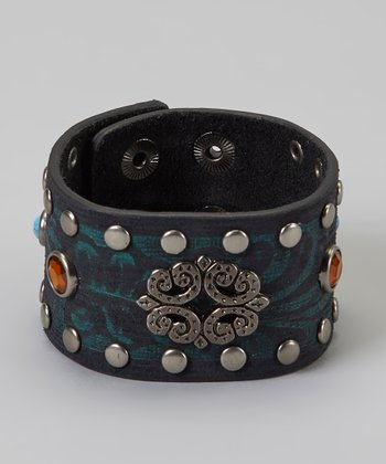 Amber & Turquoise Studded Wide Leather Bracelet