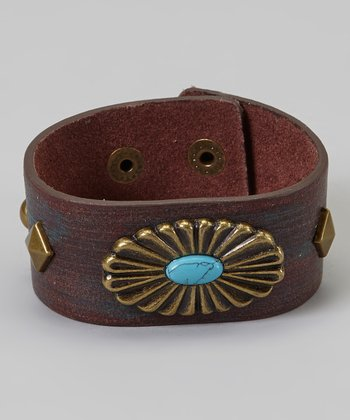 Turquoise & Gold Wide Brown Bracelet
