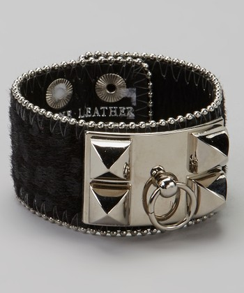 Silver & Black Pyramid Stud Animal Bracelet
