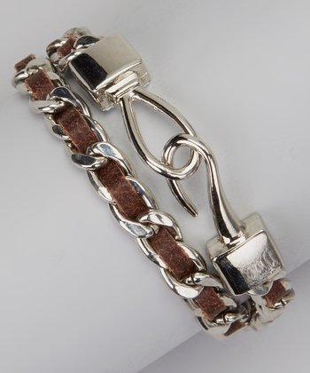 Silver & Brown Chain Wrap Bracelet