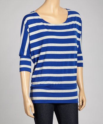 Royal Blue & Heather Gray Stripe Dolman Top