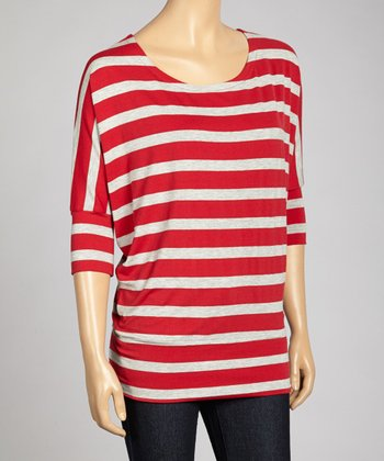 Burgundy & Heather Gray Stripe Dolman Top