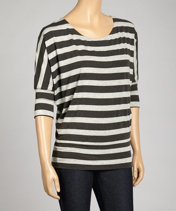 Charcoal & Heather Gray Stripe Dolman Top