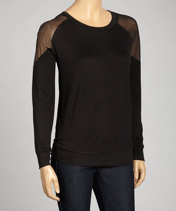 Black Sheer Scoop Neck Top