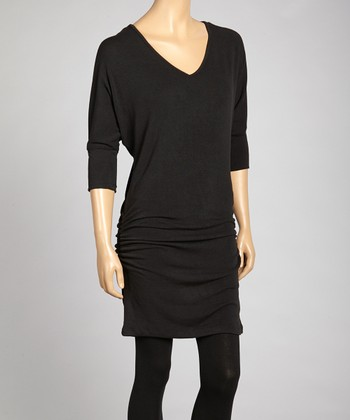 Black Ruched V-Neck Dolman Top