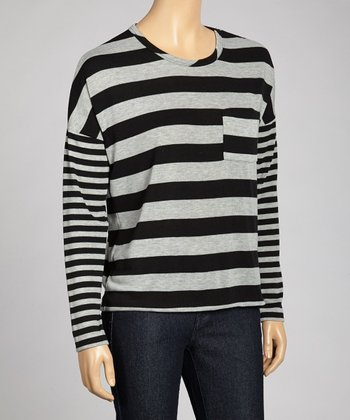 Heather Gray & Black Stripe Top