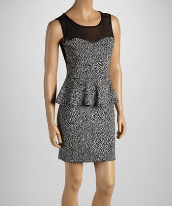 Black & White Crosshatch Peplum Dress - Women