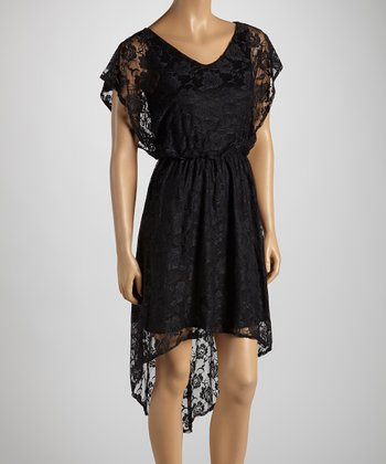 Black Lace Cape-Sleeve Hi-Low Dress