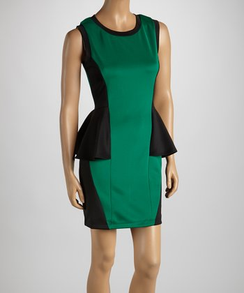 Emerald & Black Color Block Peplum Dress