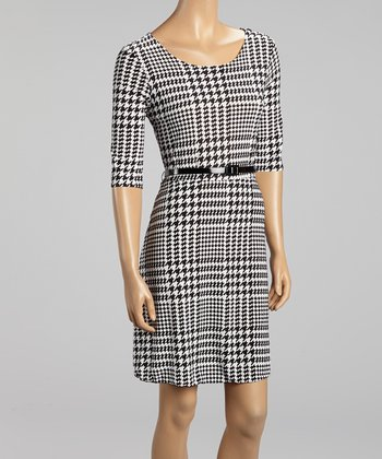 Black Houndstooth Belted Dress