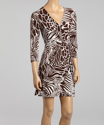 Brown & White Jungle Surplice Dress