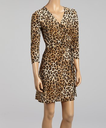 Taupe Leopard Surplice Dress