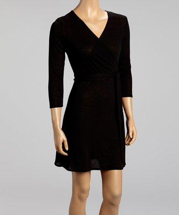 Black Three-Quarter Sleeve Wrap Dress