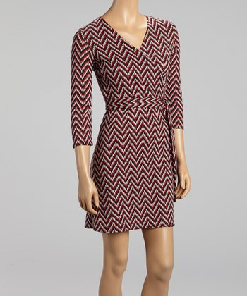 Red Zigzag Surplice Dress