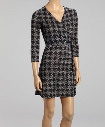 Gray Houndstooth Surplice Dress
