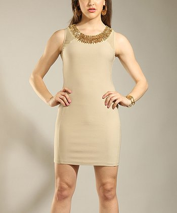 Beige Embellished Sheath Dress