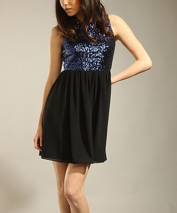 Black & Blue Sequin Chiffon Dress